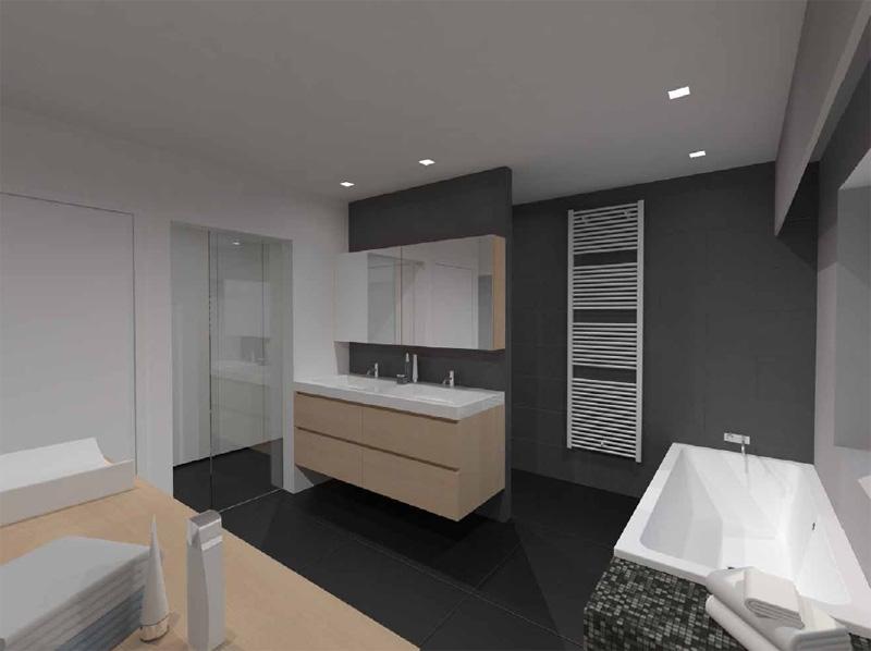 Moderne badkamer met open douche in oudenaarde - Open badkamer ...