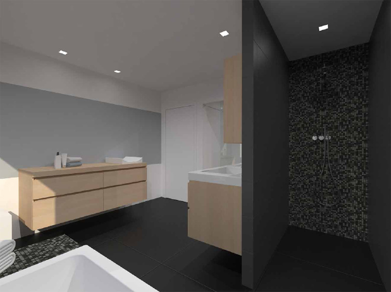 Moderne badkamer met open douche in oudenaarde - Moderne badkamer met italiaanse douche ...