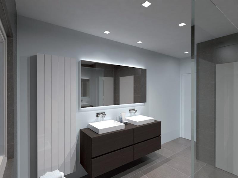 Moderne badkamer inrichting in temse - Moderne badkamer tegelvloeren ...